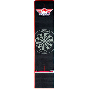 Bulls Dart mat with red border 300x65